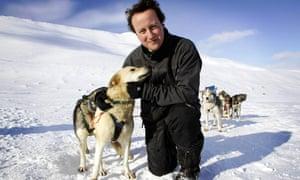David Cameron with husky called Troika, April 2006