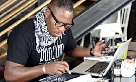 A man uses a tablet on November 14, 2012