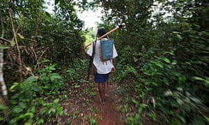 A Kayapo Indian walking on a forest trail
