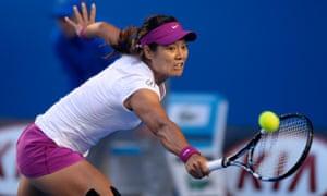 Li Na sends a backhand return to Dominika Cibulkova.