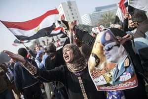 Cairo protest: An Egyptian supporter of the military-in