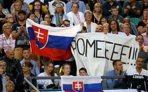 women's final: Fans of Dominika Cibulkova of Slovakia cheer