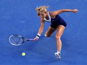 women's final: Dominika Cibulkova makes a forehand return