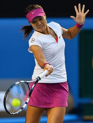 women's final: China's Li Na plays a shot