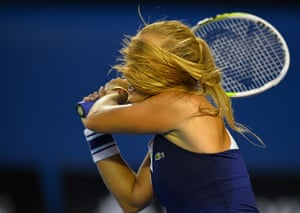 women's final: Dominika Cibulkova plays a shot