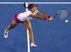 women's final: Li Na of China reaches for a shot
