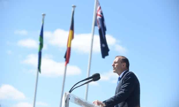 Prime Minister Tony Abbott speaks to the Australia Day citizenship ceremony in Canberra Sunday, Jan. 26, 2014. Thousands of new Australian citizens are welcomed in ceremonies around the country today.