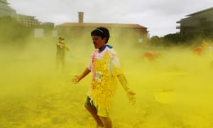 The Australia Day MS Colour Dash held along the Darling Harbour foreshore in Sydney, Sunday, Jan. 26, 2014.