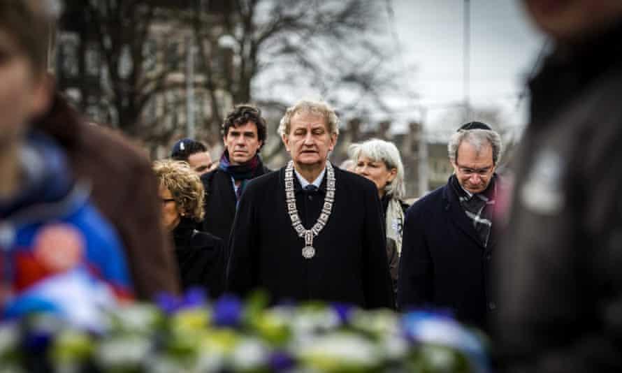 Amsterdam Mayor Eberhard van der Laan  visits the Auschwitz monument in the Wertheimpark in Amsterdam.