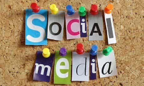 Social media posted on a pin board