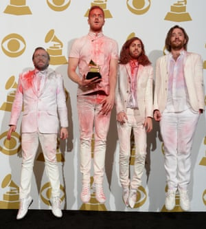 These guys were a bit jumpy, but that's because they're Radioactive and have won an award for Best Rock Performance for Imagine Dragons.