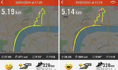 Smartphone app visualises two similar running routes