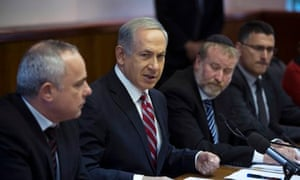 Binyamin Netanyahu with cabinet ministers in Jerusalem
