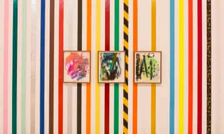 Martin Creed stripey wall with paintings