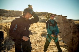 BASE jumping in Utah: Jumper attaches a head-mounted camera to his crash helmet