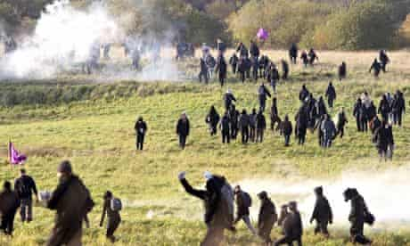 Protesters clash with police at an asylum centre near Copenhagen in 2008.