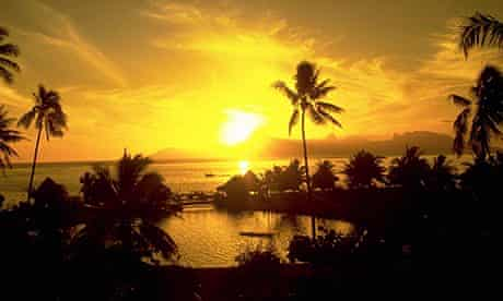 Bright Yellow Sunset French Polynesia