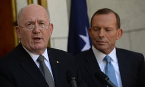 Prime Minister Tony Abbott and Governor General designate General Peter Cosgrove during a press conference in Canberra, Tuesday, Jan, 28, 2014. General Cosgrove will take up his appointment in March from present Governor General Quentin Bryce.