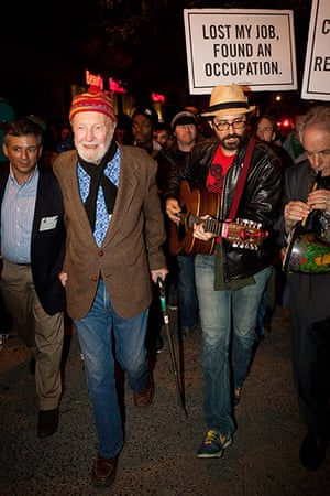 Pete Seeger: Seeger, 92, left, marching with nearly a thousand demonstrators sympathetic