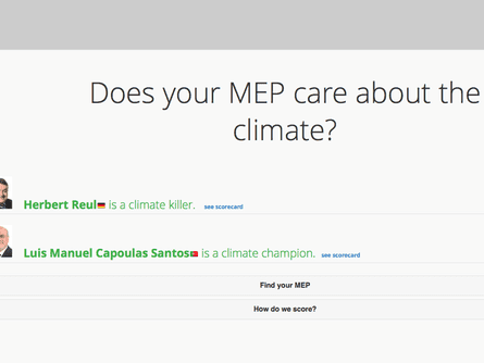 An online tool that shows how green each MEP is