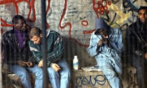 Drug addicts in Paris in 1996