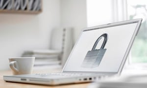 Padlock picture on laptop screen