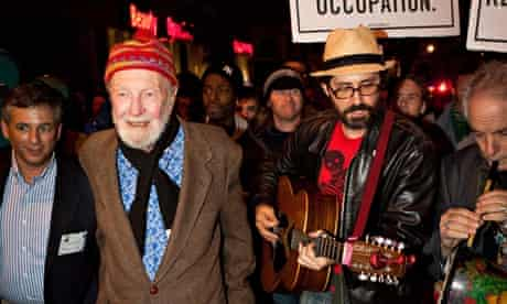 Seeger at an Occupy Wall Street protest