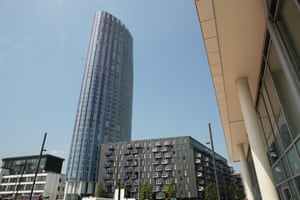 Teetering towers … the Spirit of Stratford rises to 42 storeys on the edge of the Olympic site.