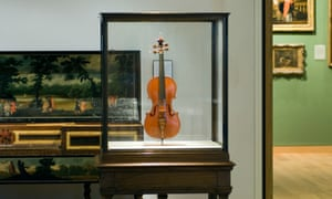 An example of a Stradivarius violin on museum display.