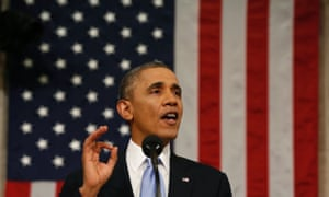 US President Barack Obama delivers the State of the Union address at the US Capitol.