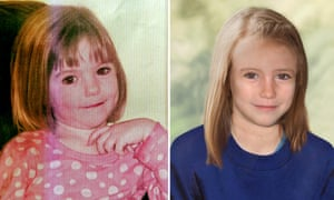 A Metropolitan police composite photo showing how Madeleine McCann looked aged three and how she might look now.