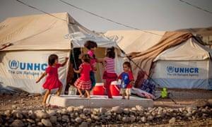 Syrian children in a refugee camp in Iraq