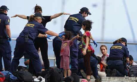 Asylum seekers arrive at Christmas Island, Western Australia, Australia - 22 Jul 2013