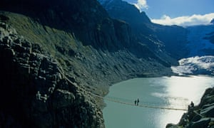 Those brave enough to walk over the bridge will enjoy a stunning view of Lake Trift, which glimmers below.
