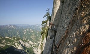 Vertical stone cliffs are all hikers have for company on the Hua Shan plank walk in China, which takes you around 2000metres above sea level.