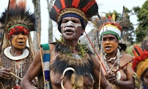 Men from the village of Namasaro, Papua New Guinea, in traditional dress