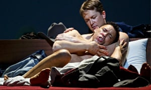 Tom Randle and Daniel Okulitch in bed in the opera Brokeback Mountain, Teatro Real, Madrid