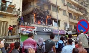 Fire at al-Jazeera studio in Tahrir Square in 2012