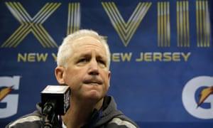 Denver Broncos head coach John Fox answers questions ahead of Super Bowl XLVIII