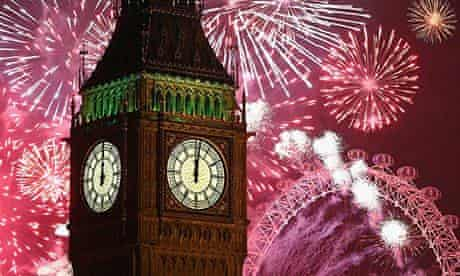 London fireworks display for New Year 2014