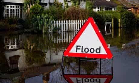 A flood warning sign