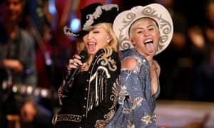 Madonna on stage with Miley Cyrus