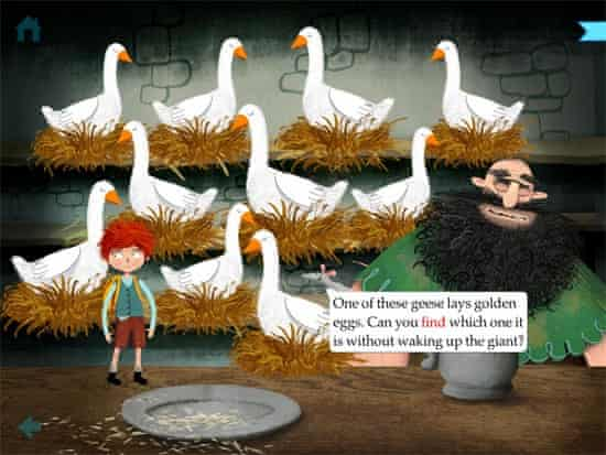 Jack and the Beanstalk includes more games than previous Nosy Crow apps.