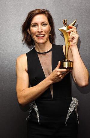 AACTA: Claudia Karvan poses with her award for Best Lead Actress in a Television D
