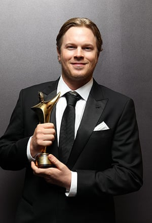AACTA: Luke Ford poses for a photograph with his award for Best Supporting Actor i