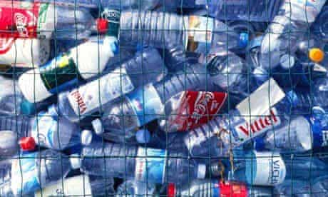 Discarded plastic water bottles