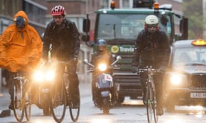 Cyclists and lorries in Central London