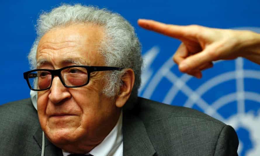Lakhdar Brahimi, the UN mediator, at the Geneva II talks on Syria.