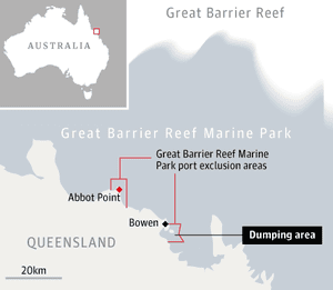 Great Barrier reef dredging map
