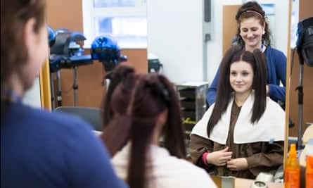 Stevie-Anne Howard practises her level 2 hairdressing skills at Croydon College
